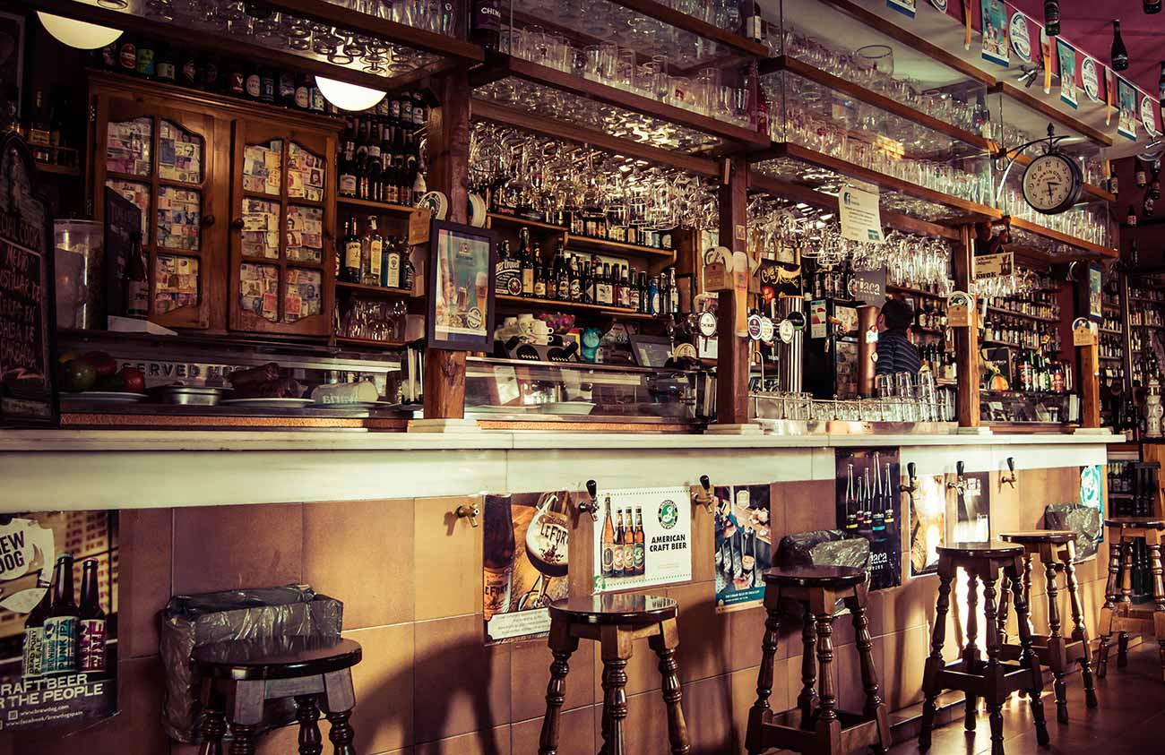 interior bar with stools