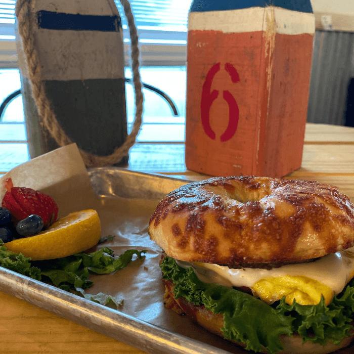 asiago bagel sandwich tidal creek brewhouse