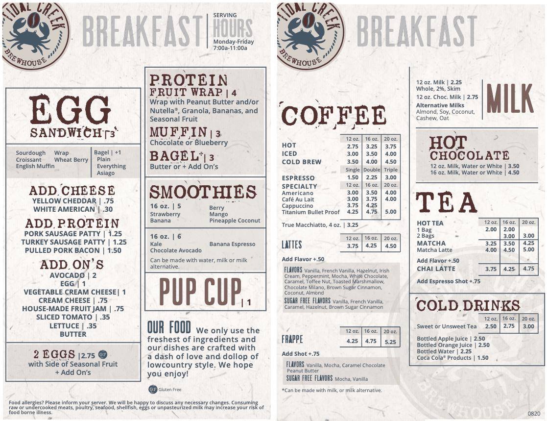 tidal creek brewhouse breakfast menu