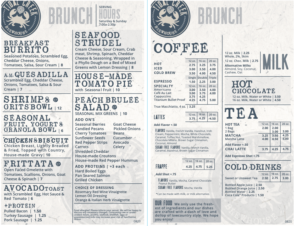 tidal creek brunch menu