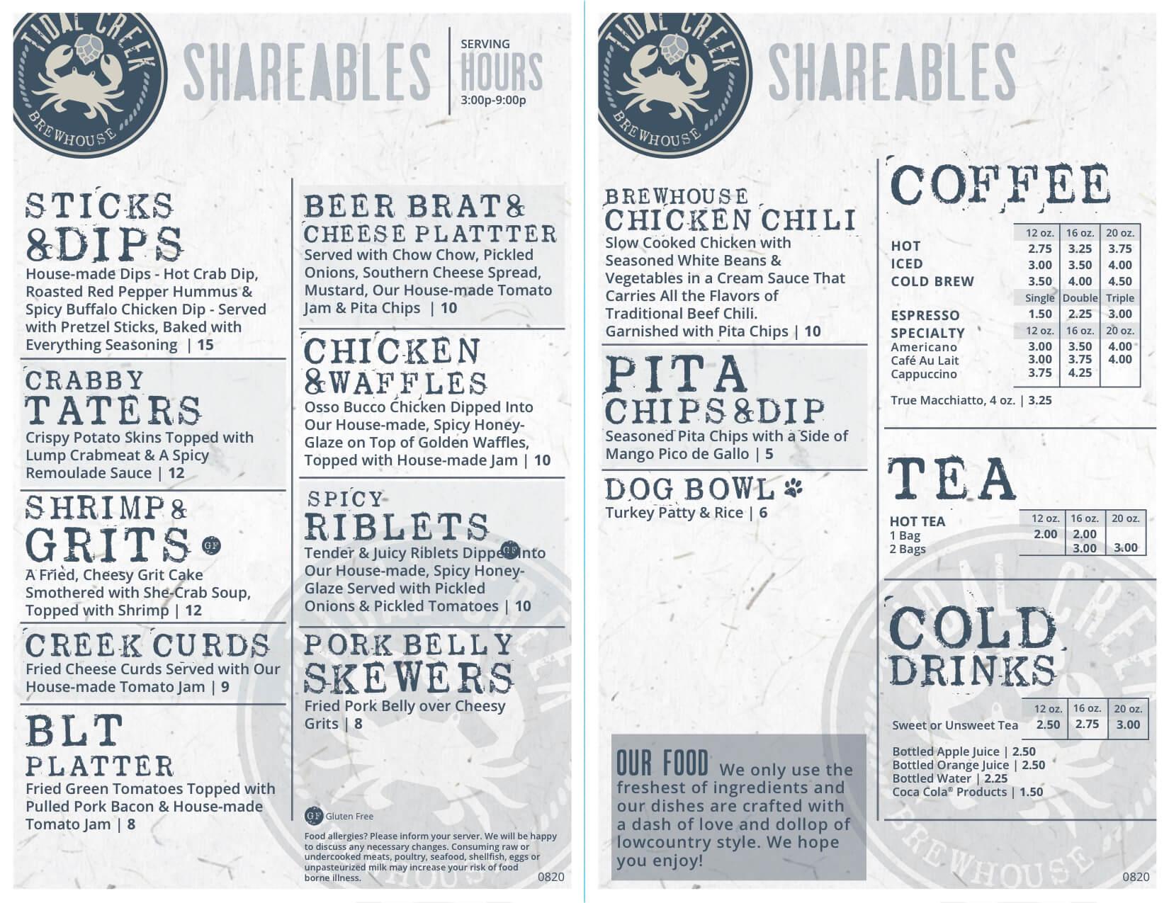 Tidal creek brewhouse shareable menu