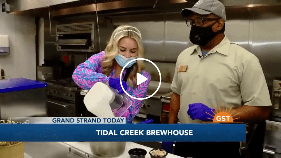 tidal creek brewhouse on grand strand today - newscaster cooking in the kitchen