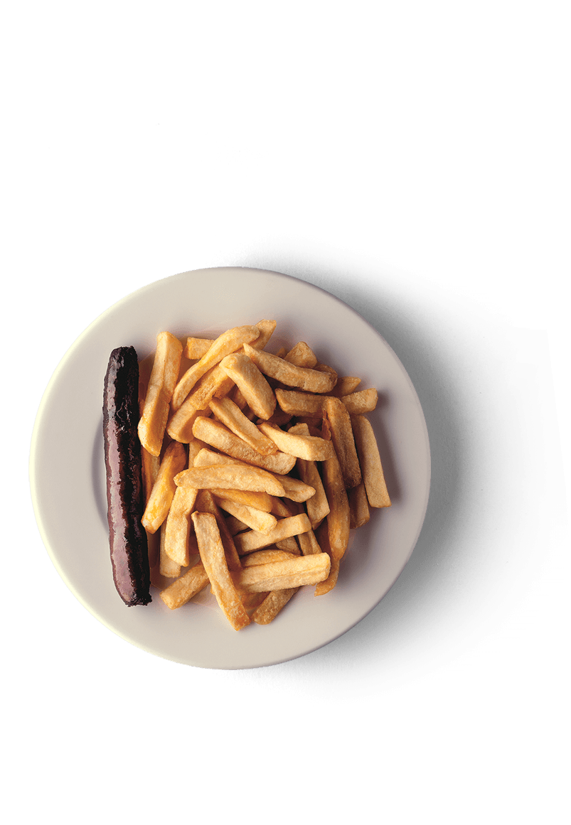 fries and sausage